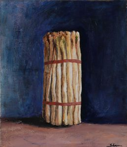 White Asparagus, Acrylic on canvas, 46 x 53cm, 2016