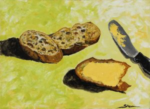 Bread & Butter, Acrylic on canvas, 45 x 33cm, 2017