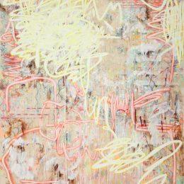 Finger Spell II, Mixed media on unprimed canvas, 190 x 160 cm, 2020
