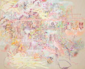 Finger Spell IV, Mixed media on unprimed canvas, 220 x 180 cm, 2020