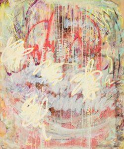 Finger Spell VI, Mixed media on unprimed canvas, 120 x 90cm, 2020