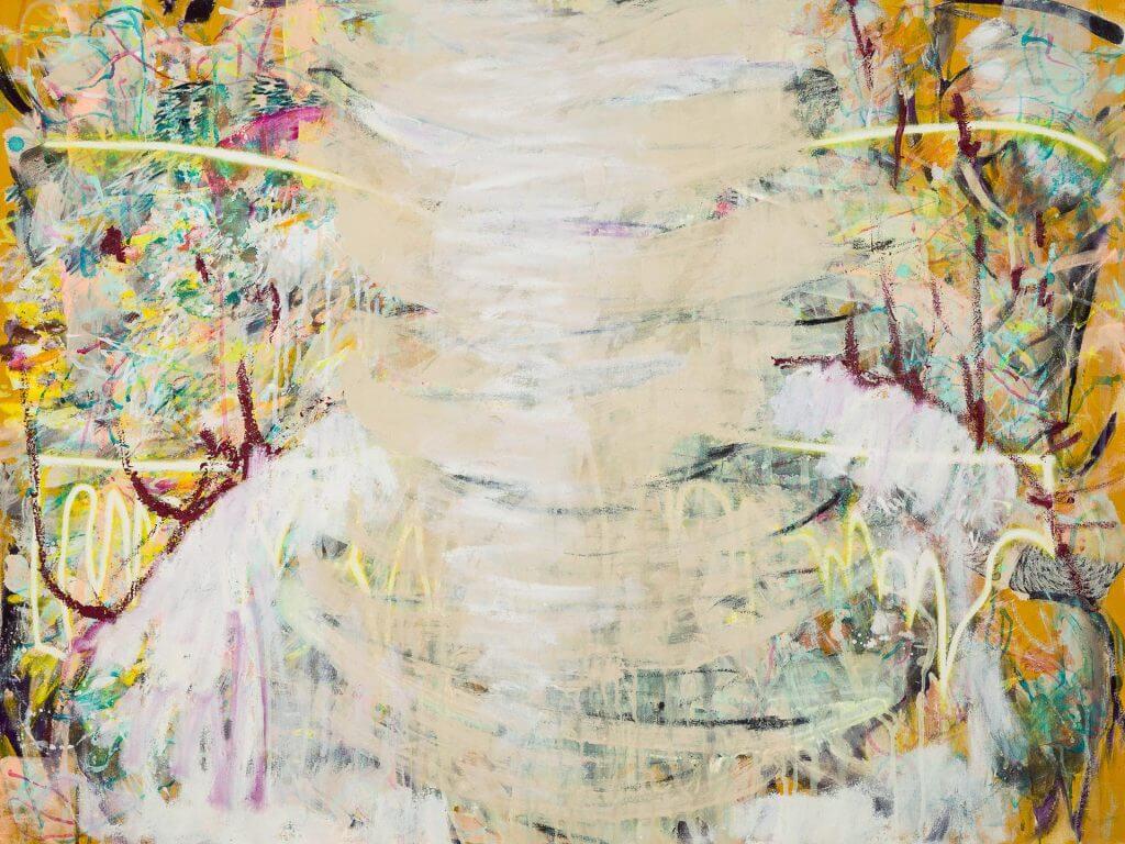 Finger Spell VII, Mixed media on unprimed canvas, 120 x 90cm, 2020