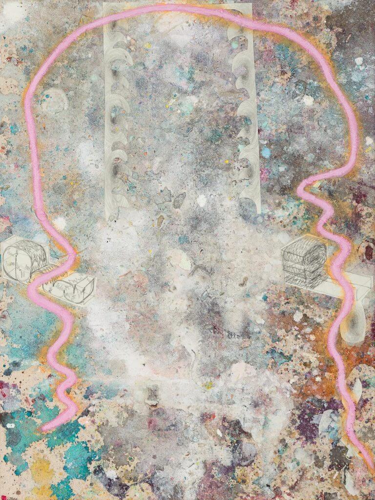 Lieux II, Mixed media on unprimed canvas, 40 x 30 cm, 2020