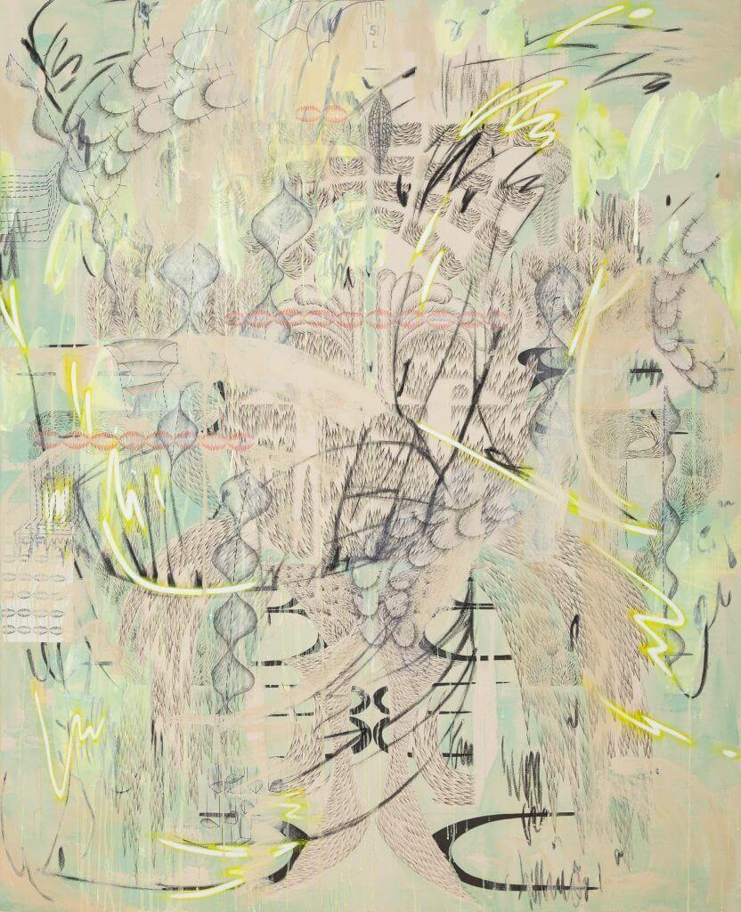 Patting, Mixed media on unprimed canvas, 160 x 130 cm, 2020