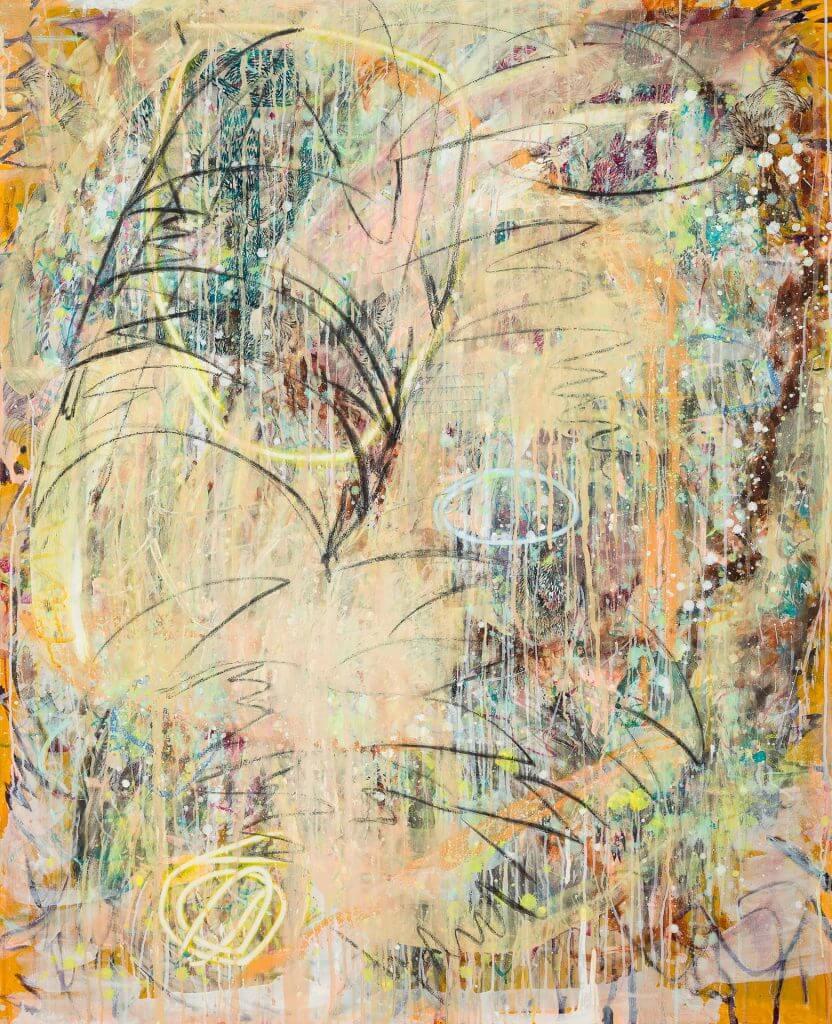 Pebble III, Mixed media on unprimed canvas, 160 x 130 cm, 2020