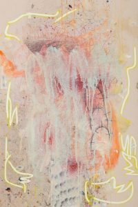 Finger Spell VII, Acrylic on unprimed canvas, 90 x 60 cm, 2021